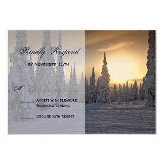 Holiday Snow on Trees Wedding RSVP Card