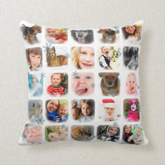 Holiday Snow Photo Collage in White Throw Pillow