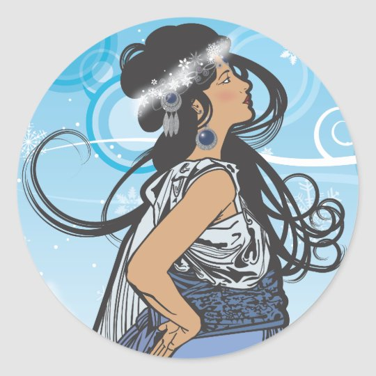 Holiday Snow Queen Classic Round Sticker