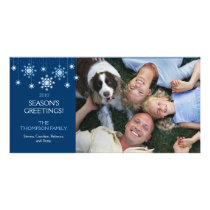 Holiday Snowflake in Ice Blue Photo Card