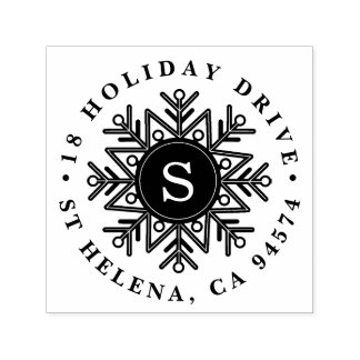 Holiday Snowflake Monogram Return Address Self-inking Stamp