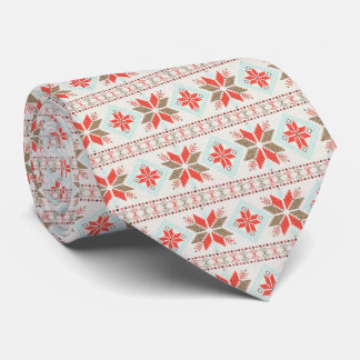 Holiday Snowflake Nordic Christmas Sweater Neck Tie