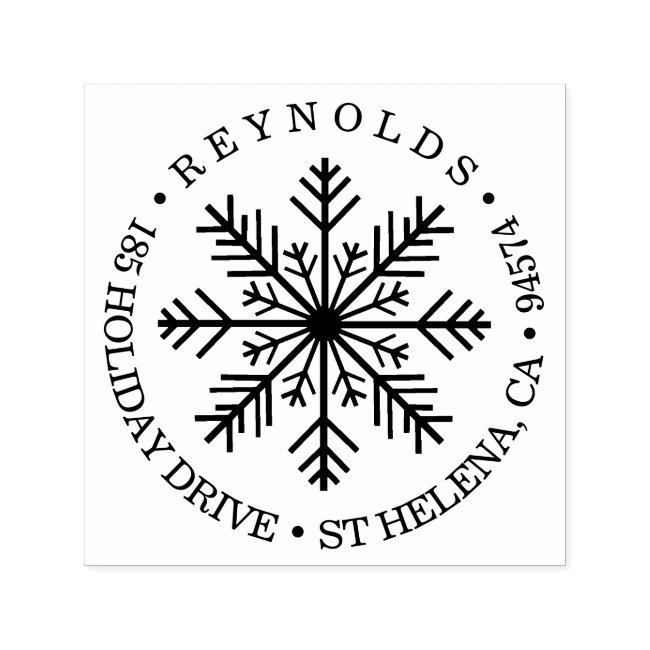 Holiday Snowflake Round Return Address Self-inking Stamp