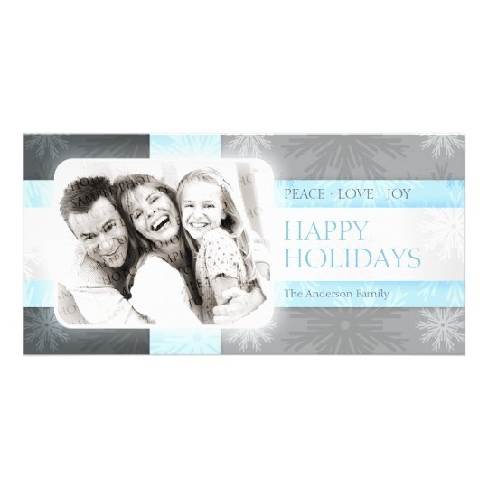 Holiday Snowflakes Blue Silver photo card