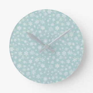 Holiday Snowflakes Merry Christmas Round Clock