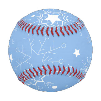 Holiday Snowflakes on Blue Baseball