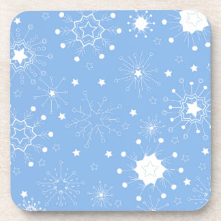 Holiday Snowflakes on Blue Beverage Coaster