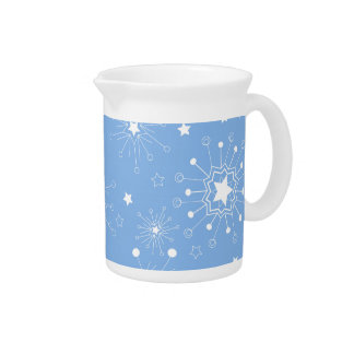 Holiday Snowflakes on Blue Pitcher