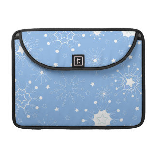 Holiday Snowflakes on Blue Sleeve For MacBook Pro