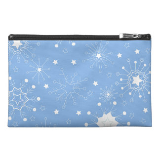 Holiday Snowflakes on Blue Travel Accessory Bag