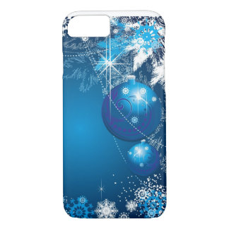 Holiday Snowflakes Ornament Blue Tree iPhone 7 Case