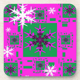 Holiday Snowflakes Purple Gifts Drink Coasters