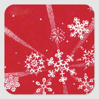 Holiday Snowflakes Square Sticker
