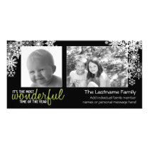 Holiday Snowflakes with 2 horizontal photos Card