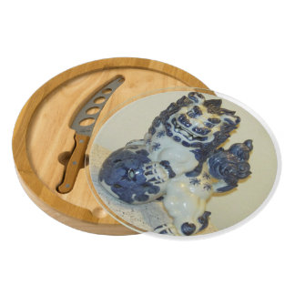 Holiday Snowlion Cheese Board Round Cheese Board