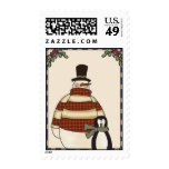 Holiday Snowman and Penguin Postage