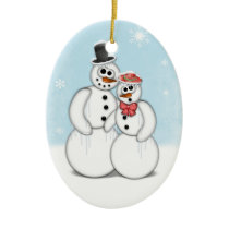 Holiday Snowman Ceramic Ornament
