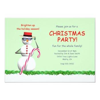 Holiday Snowman Christmas Party Invitation