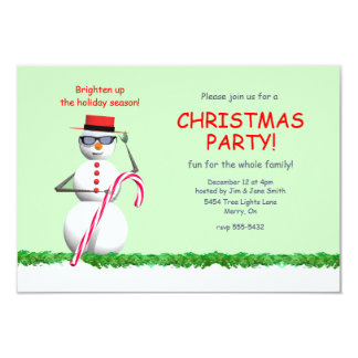 Holiday Snowman Christmas Party 3.5x5 Paper Invitation Card
