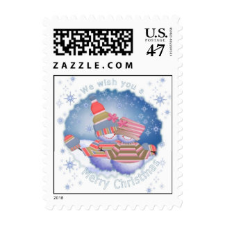 Holiday Snowman Couple in Sweaters Postage