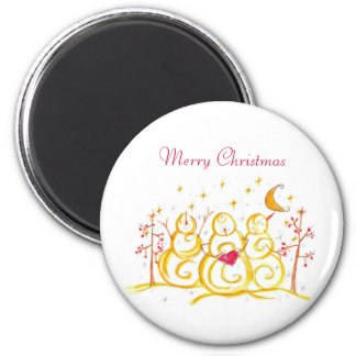 Holiday Snowman Crescent Moon Merry Christmas Magnet
