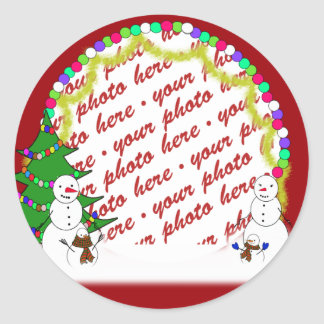 Holiday Snowman Family Photo Frame Classic Round Sticker
