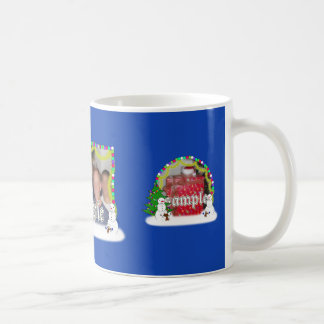Holiday Snowman Family Photo Frame Classic White Coffee Mug