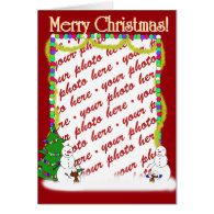 Holiday Snowman Family Photo Frame Greeting Card