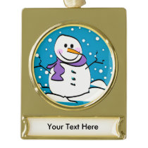 Holiday Snowman Gold Plated Banner Ornament