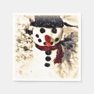 Holiday Snowman Let it Snow Paper Napkins