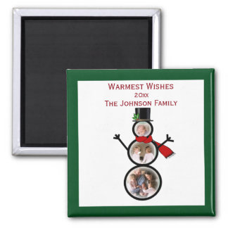 Holiday Snowman Photo Template to Personalize 2 Inch Square Magnet