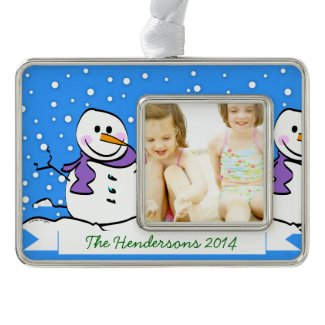 Holiday Snowman Silver Plated Framed Ornament