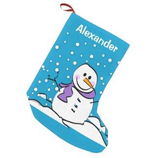 Holiday Snowman Small Christmas Stocking