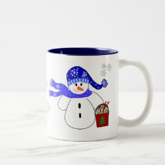 Holiday Snowman With Candy Two-Tone Coffee Mug