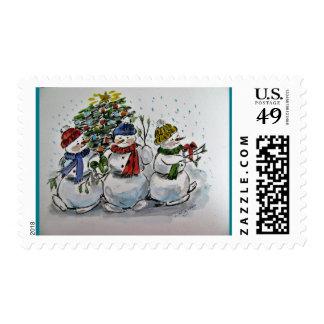 Holiday snowmen postage stamp