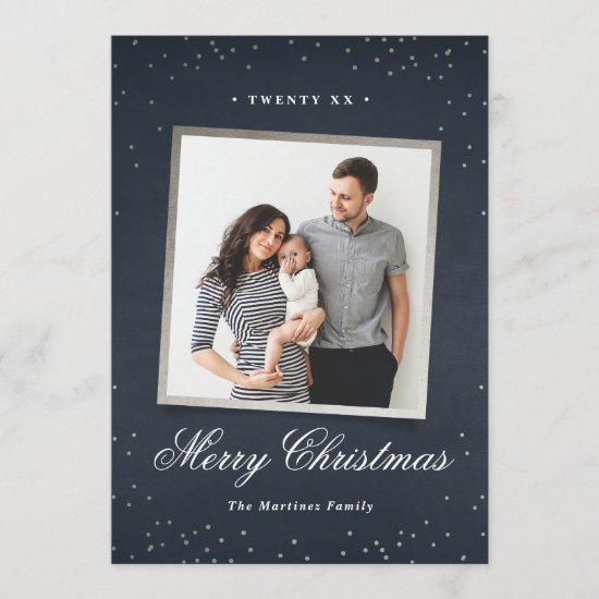 Holiday sparkle faux foil photo card