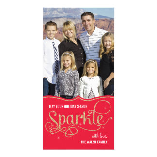 Holiday Sparkle Holiday Photo Card - Red