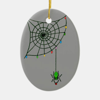 Holiday Spider Web and Lights Ceramic Ornament