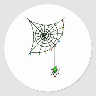 Holiday Spider Web and Lights Classic Round Sticker