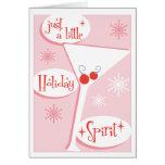 Holiday Spirit Pink Martini Christmas Card
