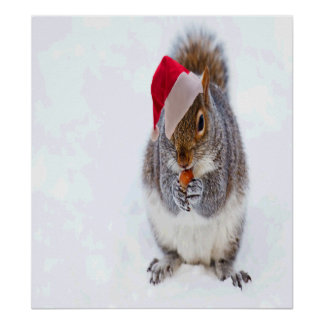 Holiday Squirrel Poster