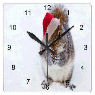 Holiday Squirrel Square Wall Clock