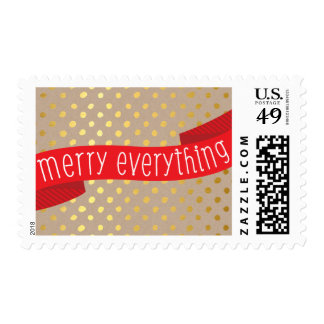 HOLIDAY STAMP cute gold confetti spot ribbon kraft