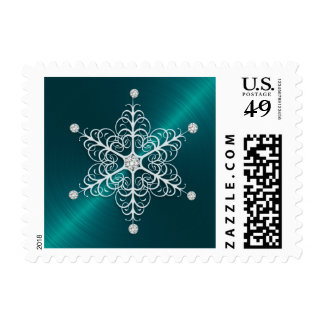 Holiday Stamp Delicate Snowflake Teal Blue