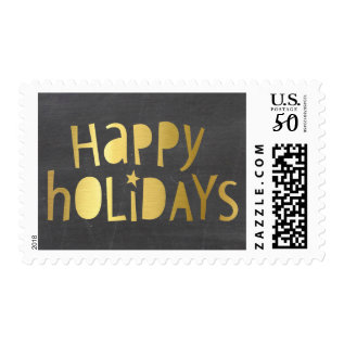 Holiday Stamp Modern Geo Typography Gold Foil Type at Zazzle