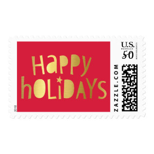 Holiday Stamp Modern Geo Typography Gold Type Red at Zazzle