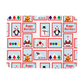 Holiday Stamp Pattern Rectangle Magnet