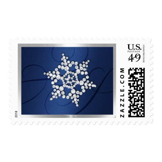 Holiday Stamp with Diamond Snowflake on Navy Blue