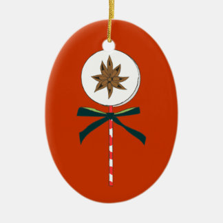 Holiday Star Anise LolliPop Illustration Ceramic Ornament