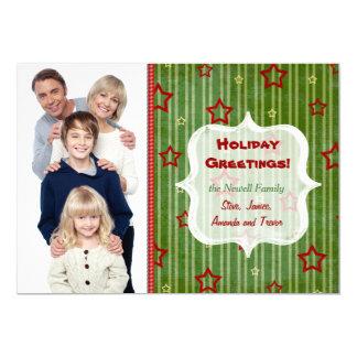 Holiday Stars Christmas Photo Greeting 5x7 Paper Invitation Card